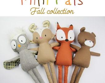 Mini Pals Fall collection rag doll animal sewing pattern toy fox owl bear deer fawn softie stuffed doll