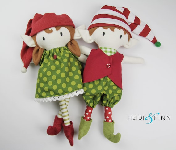 Min pals holiday collection - Christmas Elf Doll sewing pattern with a boy elf and a girl elf from Heidi and Finn.