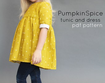 Pumpkin Spice PDF pattern and tutorial 12m-12y  tunic dress jumper blouse