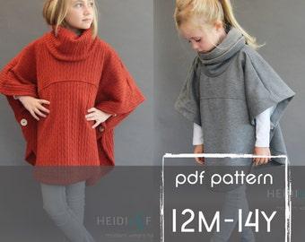 Veritas cape poncho pattern and tutorial 12m-14y  holiday jacket  coat bolero PDF
