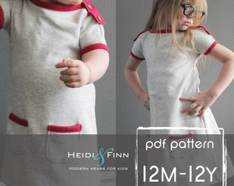PlayDay Dress PDF pattern and tutorial 12m-12 EASY SEW tunic dress jumper