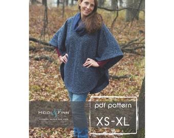 Veritas cape poncho pattern and tutorial XS - XL  holiday jacket  coat bolero pdf