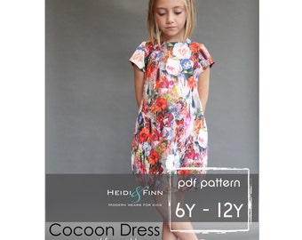 Cocoon dress PDF pattern and tutorial 6y-12y  tunic dress jumper  easy sew