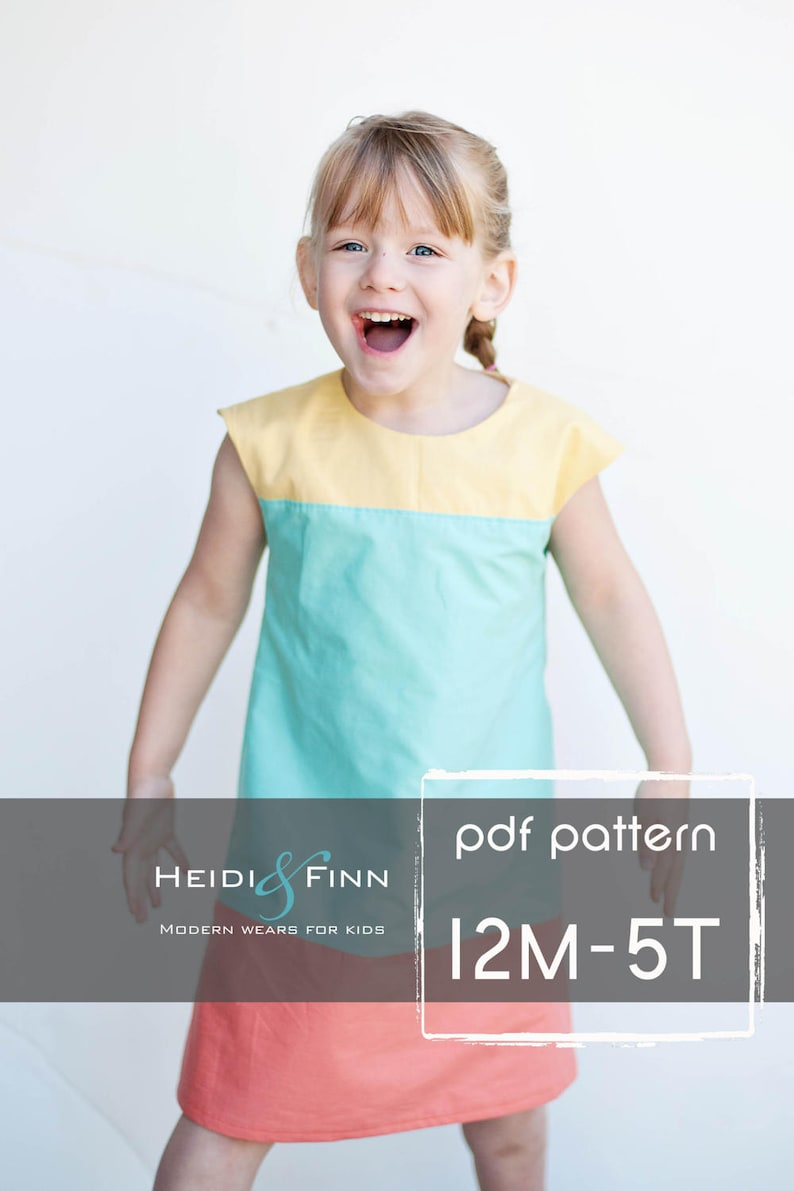 Colorblock dress pattern and tutorial 12m-5ty EASY SEW fully image 0