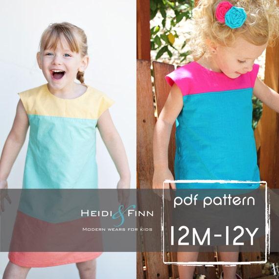 Colorblock Kleid Muster und Tutorial 12m-12y einfach nähen | Etsy