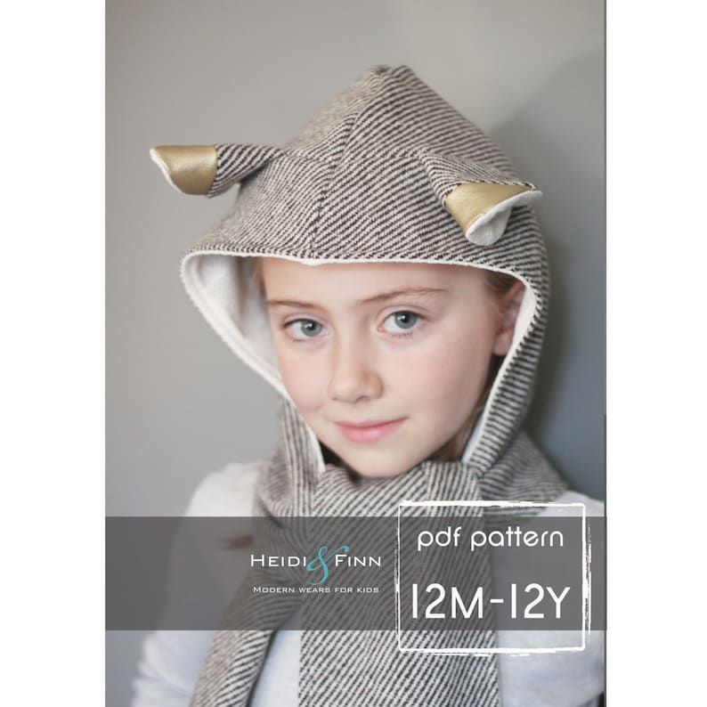 All in One Hooded Scarf pattern and tutorial 6m-12y easy sew image 0