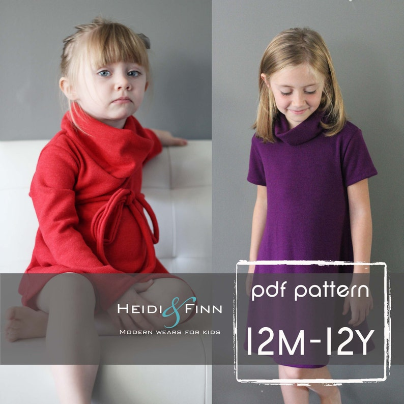 Cowl Neck Jumper Dress and sweater pattern  PDF12m  12y easy image 0