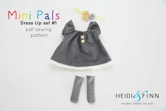 Mini Pals DRESS UP set #1 soft rag doll sewing pattern toy softie ...