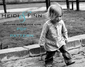Sweet Pocket Pinafore pattern and tutorial 3M-3T easy sew pdf