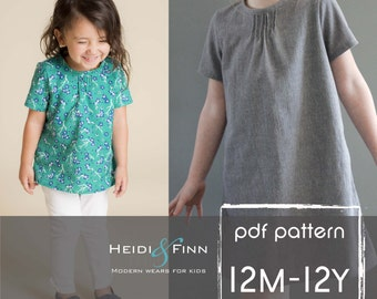 Pintuck Blouse and Dress PDF pattern and tutorial 12m-12y EASY SEW tunic dress jumper