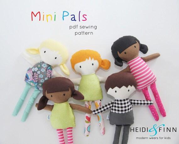 Mini Pals soft rag doll sewing pattern toy softie stuffed