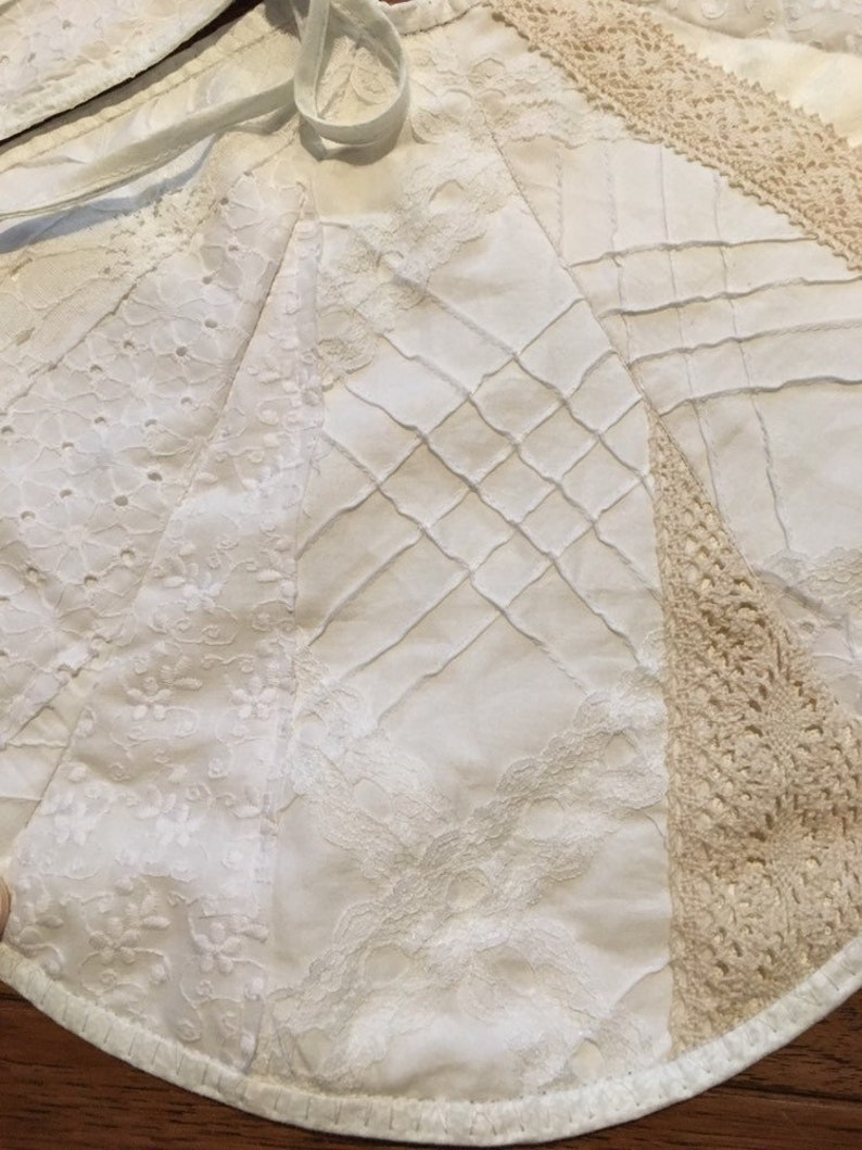 Cotton and Lace and Wooden Buttons Christmas Treeskirt