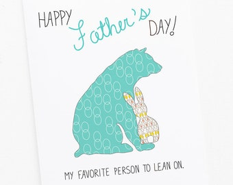 Father's Day Card with Papa Bear and Bunny Greeting Card