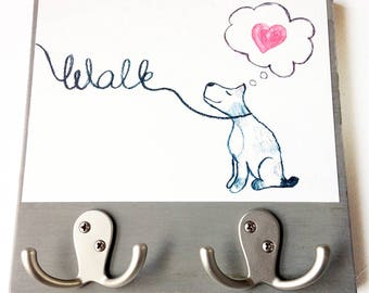 Walk the Dog Leash Hook Art Block - Rustic Finish - Watercolor Dog- Home Decor- Mudroom Decor- Dog Wall Art- Milk Paint