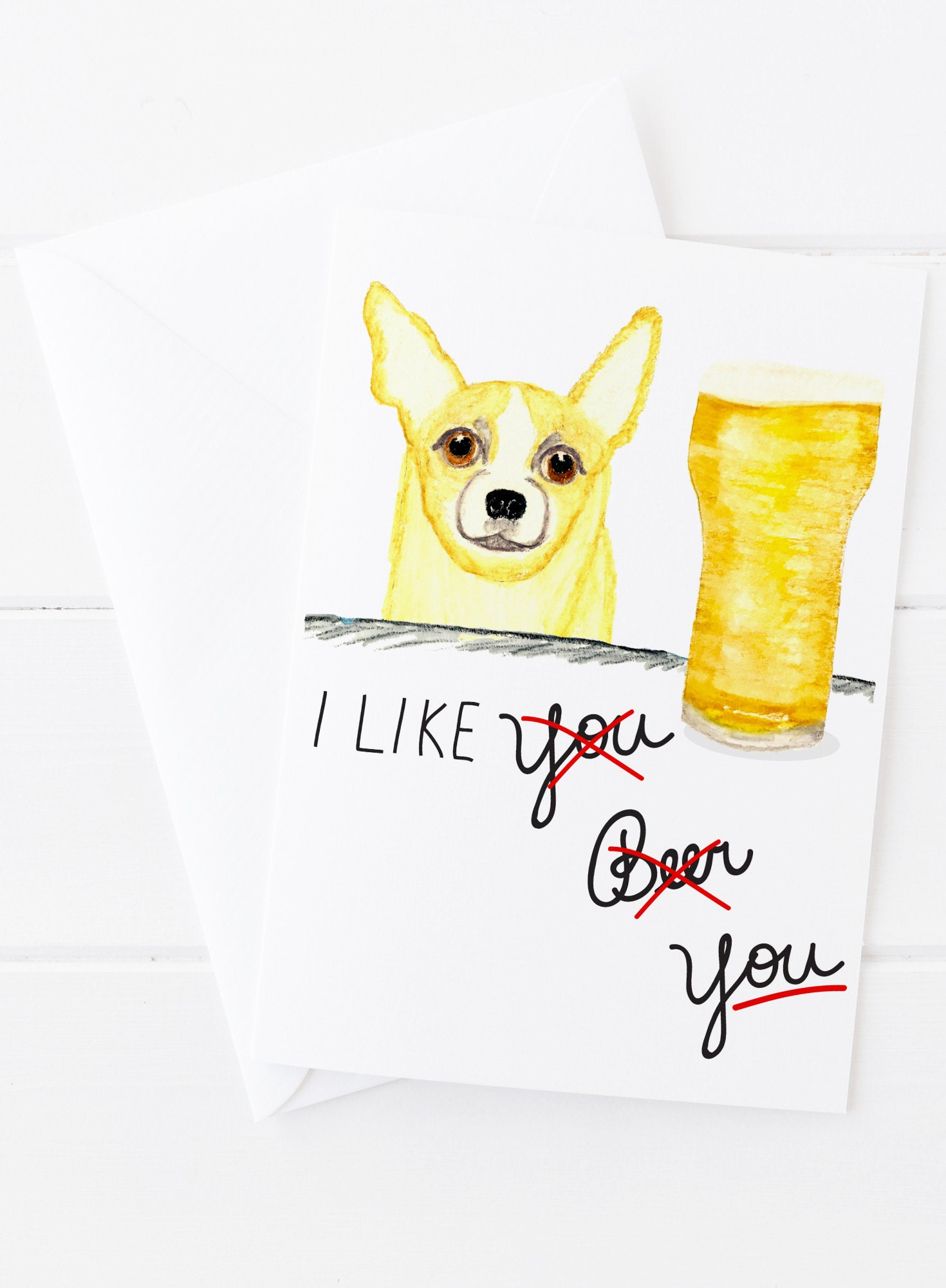 Beer And Chihuahua Greeting Card Fathers Day Card Etsy