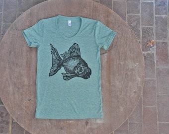 Goldfish T-Shirt / Black Moor Fish Design / Hipster Tee on American Apparel Women's Teal Mint Green Tee