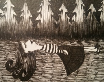 Pen Ink Drawing, Art Card, ACEO, Woman Floating, Woman, Trees, Art Original
