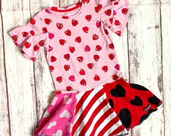Size 4/5, Text Heart Love, Upcycled T-shirt Dress, ready to ship, Valentines, one of a kind