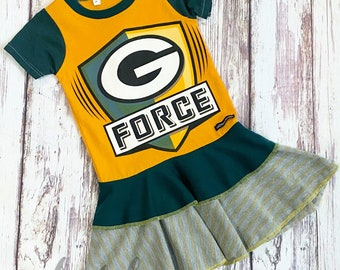 Size 3T, Upcycled Packers Dress, Ready to Ship, One of a kind