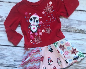 Size 3T, Penguin playing in Snow Upcycled Knit Dress, ready to ship, Christmas , one of a kind