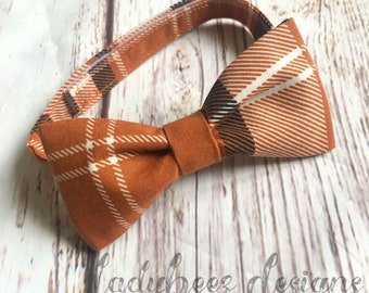 Little Man Bowtie- Pumpkin Plaid Fall Baby/Toddler/ Young Boy Bow Tie