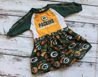 Size 6/9 months, Upcycled Packers Dress, Bodysuit Dress , Ready to Ship, One of a kind
