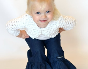 "Girls Ruffle Pants- Dark Denim - Made from Viola Lee Pattern ""Emma Lee"""