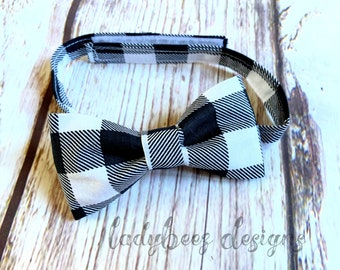 Little Man Bowtie- White and Black Buffalo Plaid Baby/Toddler/ Young Boy Bow Tie