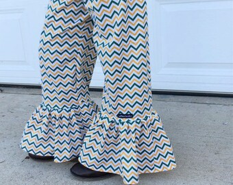 """Girls Ruffle Pants- Green and Gold Chevron- Made from Viola Lee Pattern """"Emma Lee"""""""