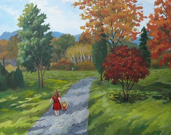 Etsy Free Shipping Sale,  Original landscape painting, country road, girl on road, wall art, ready to ship, Autumn Art