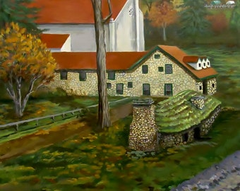 Original Painting of an Autumn Landscape  A large Acrylic Painting of Historic Buildings  Free Shipping Sale