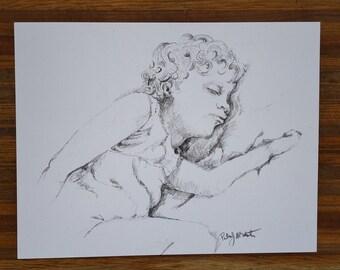 Portrait of girl sleeping,  Mixed Media drawing, original art, gift, home decor