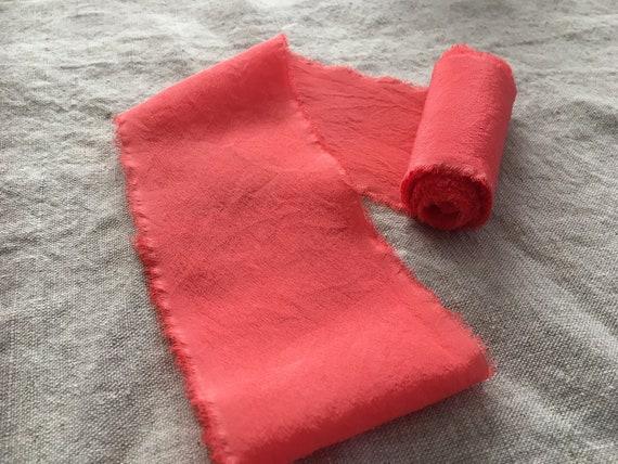 Ruban de • soie • de corail de teinte à la main 09a882