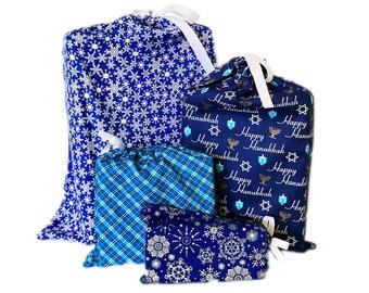 Reusable Hanukkah Gift Bags, Set of 4, Sustainable, Alternative