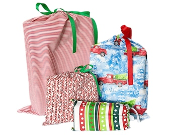 Eco-Friendly Wrapping Paper, Christmas Reusable, Fabric Gift Bags, Set of 4