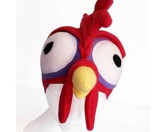 Heihei Inspired Chicken Hat, Moana, Hei Hei Bird, Fleece. Five Sizes: Newborn to XL.