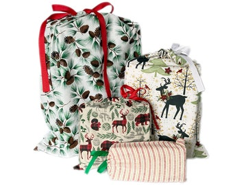 Earth-Friendly Reusable Wrapping Bags, Animals, Set of 4 Christmas Themed