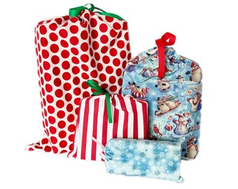 Quick Wrapping Paper, Reusable, Christmas, Earth-Friendly, Set of 4
