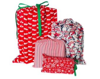 Set of 4 Christmas Themed Reusable Wrapping Bags, Earth-Friendly