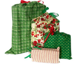 Fast Wrapping Fabric Gift Bags, Earth-Friendly, Set of 4, Winter Holidays