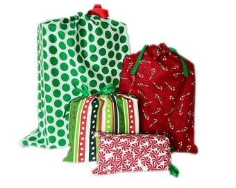 Chrsitmas Gift Bags, Reusable Fabric, Earth-Friendly Wrapping, Set of 4
