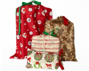 Wrap in Seconds, Wrapping Paper Alternative, Christmas Fabric Gift Bags, Reusable, Set of 4