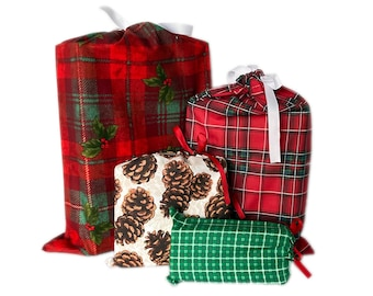 Alternative to Wrapping Paper, Plaid Gift Bags, Reusable, Christmas