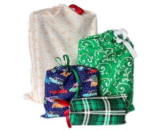 Reusable Fabric Gift Bags, Earth-Friendly, Christmas themed, Set of 4