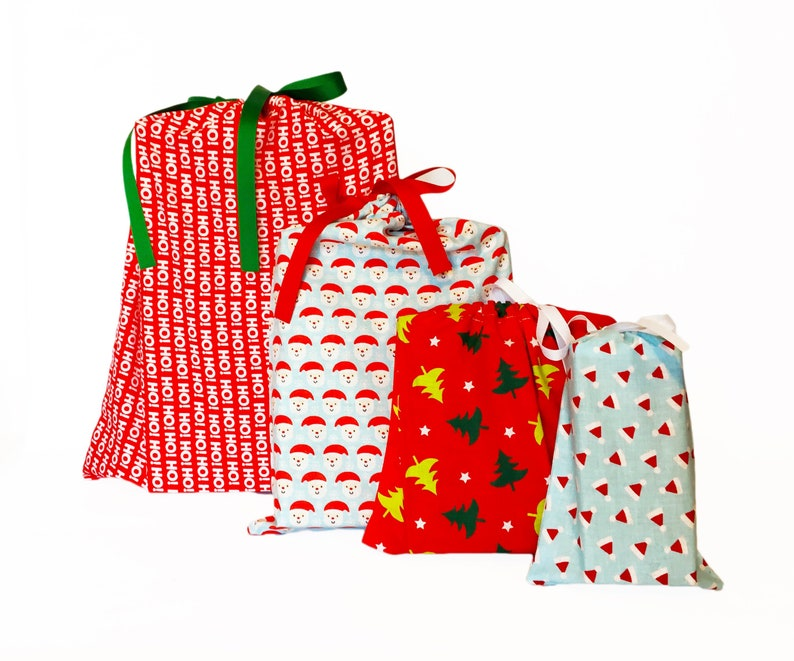 Reusable Wrapping Bags Set of 4 Christmas Themed Earth-Friendly