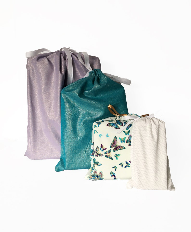 Reusable Fabric Bags Shower Set of 4 in varying sizes Wedding All-Occasion