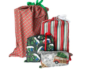 No Waste Wrapping Paper, Fabric Gift Bags, Reusable, Christmas