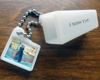 PERSONALIZED, Your IMAGE & WORDS. Say I Miss You with this Viewfinder Keychain. Photo Included.