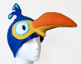 Dodo Hat. Blue Cartoon Bird, Silly.