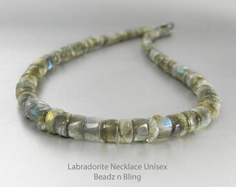 Labradorite Necklace Unisex Choker Necklace Mens Stone Necklace Womens Beaded Choker Gemstone Heishi Beads